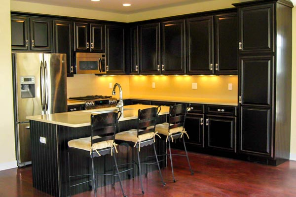 4) Cabinet Refacing Featuring Black Painted Maple And Rub Through Highlights