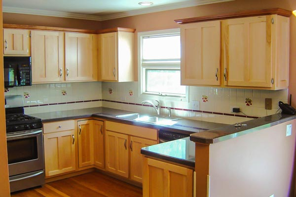 2) Cabinet Refacing Using Modified Shaker In Natural Maple And Contrasting  Crown Molding